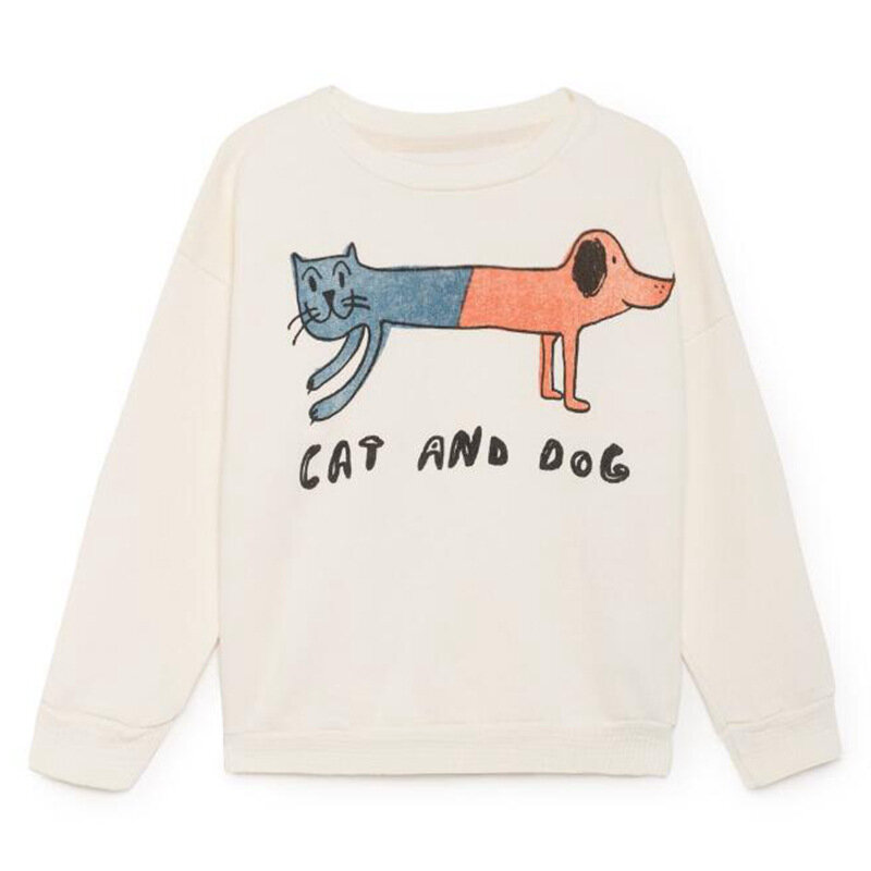 Cat And Dog Print Girls Long Sleeve Sweatshirt For 1Y-11Y