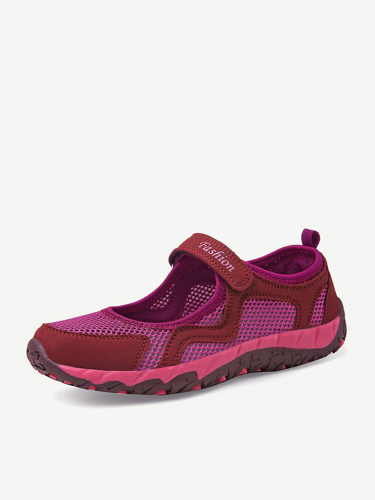 Breathable Hollow Mesh Soft Hook Loop Stitching Causal Flat Shoes