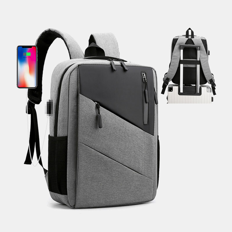 Men Large Capacity USB Charging Business Travel 15.6 Inch Laptop Bag Backpack