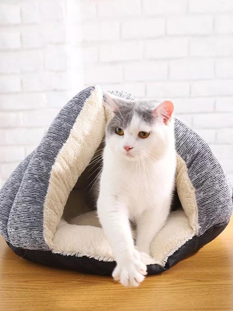 飼い犬の猫の冬の柔らかく暖かいプラシ天の寝袋の子犬のテントの洞窟のベッド