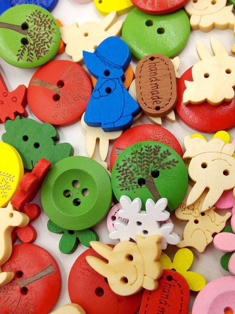 100Pcs Cartoon Button DIY Handmade Wooden Button Decorative Painting Materials