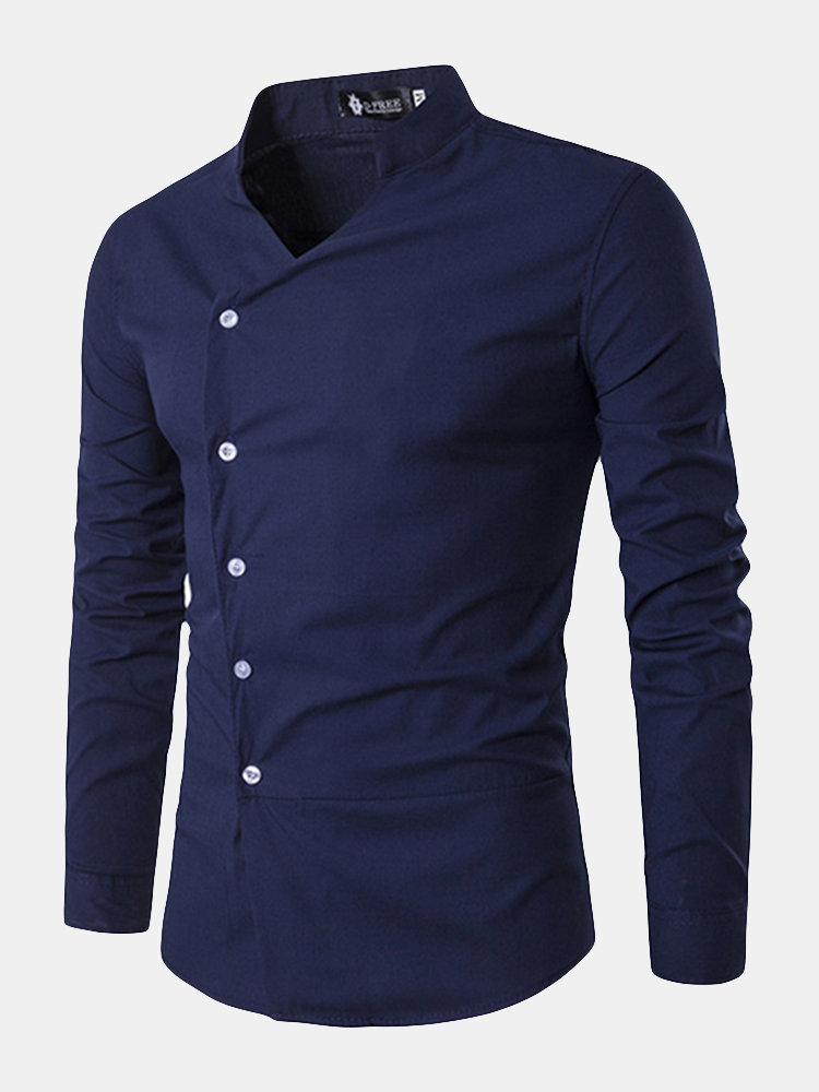 72acd31f Designer Casual Fashion Oblique Asymmetric Stand Collar Designer Shirts for  Men - NewChic