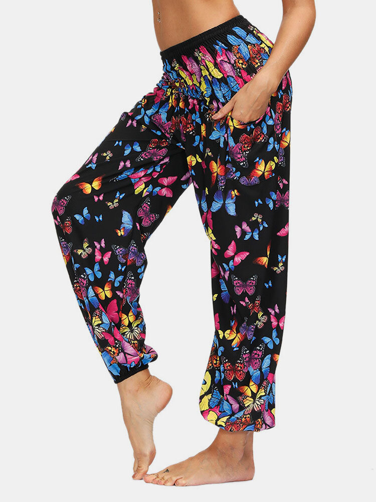Floral Butterfly & Ethnic Print Pocket Yoga Bloomers Pants