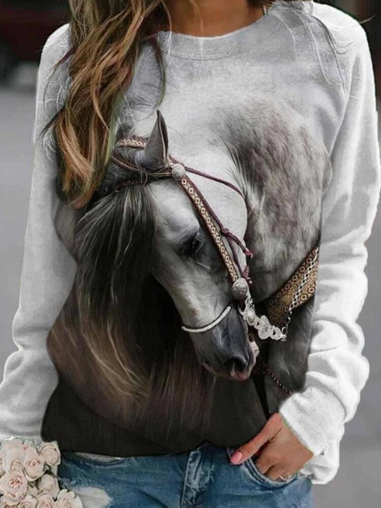 女性のための馬のプリント長袖Oネックカジュアルスウェットシャツ