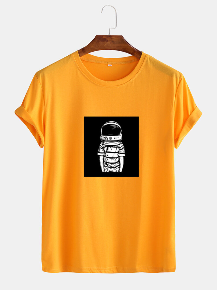Mens Astronaut Graphic Print Cotton Round Neck Casual Short Sleeve T-Shirts