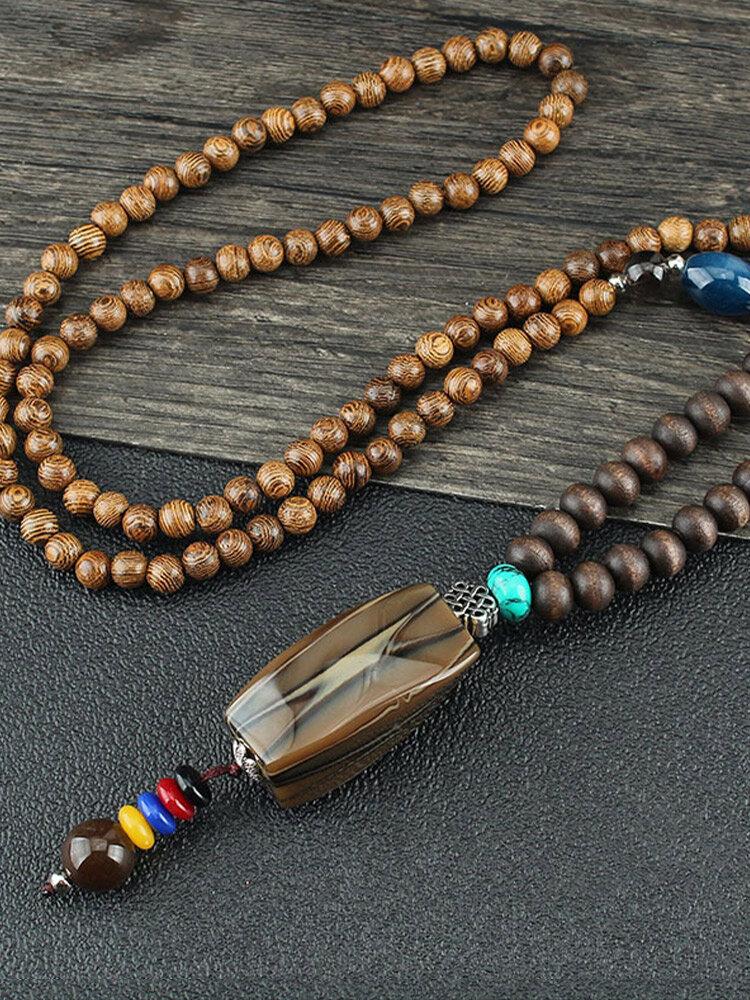 Vintage Ethnic Geometric-shape Pendant Beadeds Long Sweater Necklace Plastic Resin Wooden Necklaces