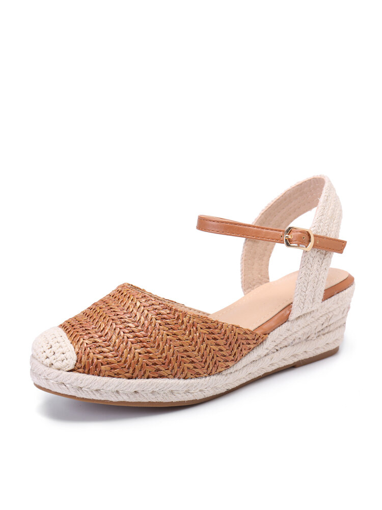 Women Casual Knitted Woven Buckle Espadrille Wedges Heel Shoes