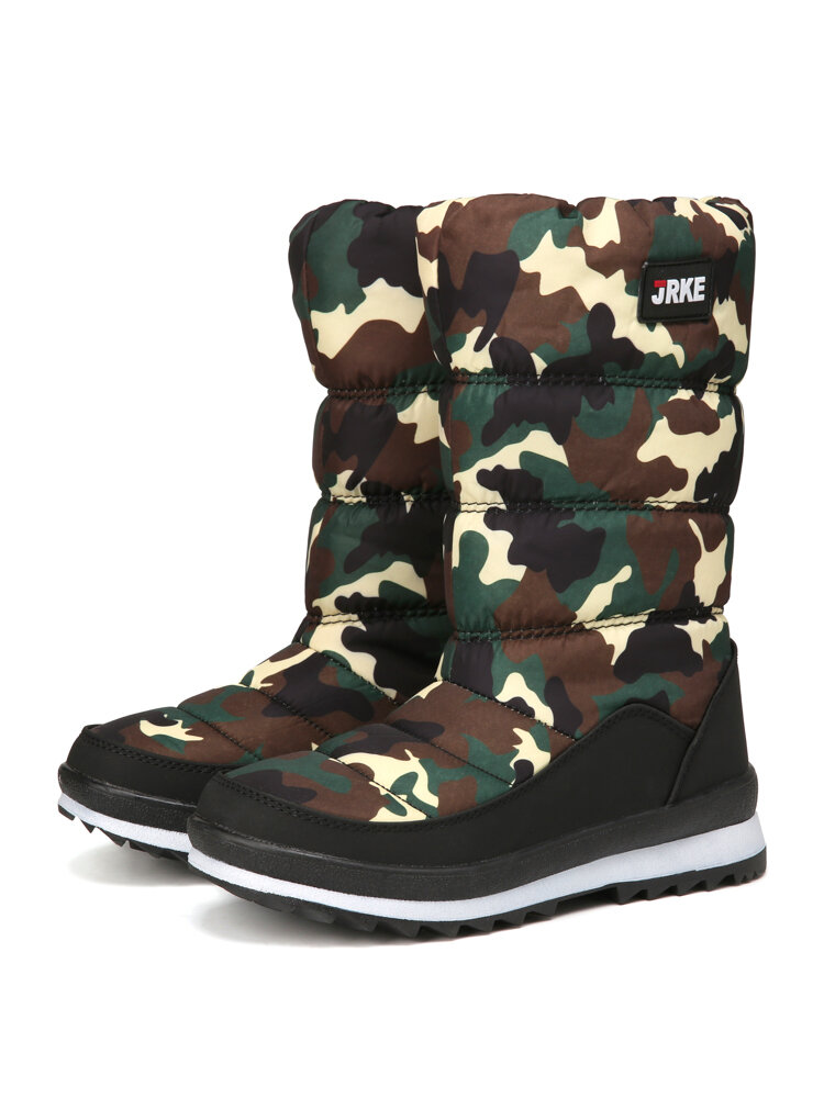 Women Snow Boots Casual Warm Round Toe Mid-Calf Flat Cotton Boots