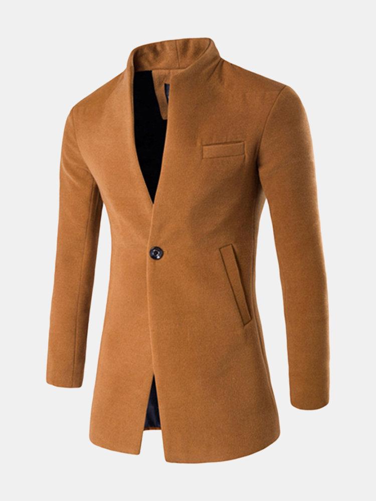 Veste business mode en laine avec un bouton et col montant pour homme