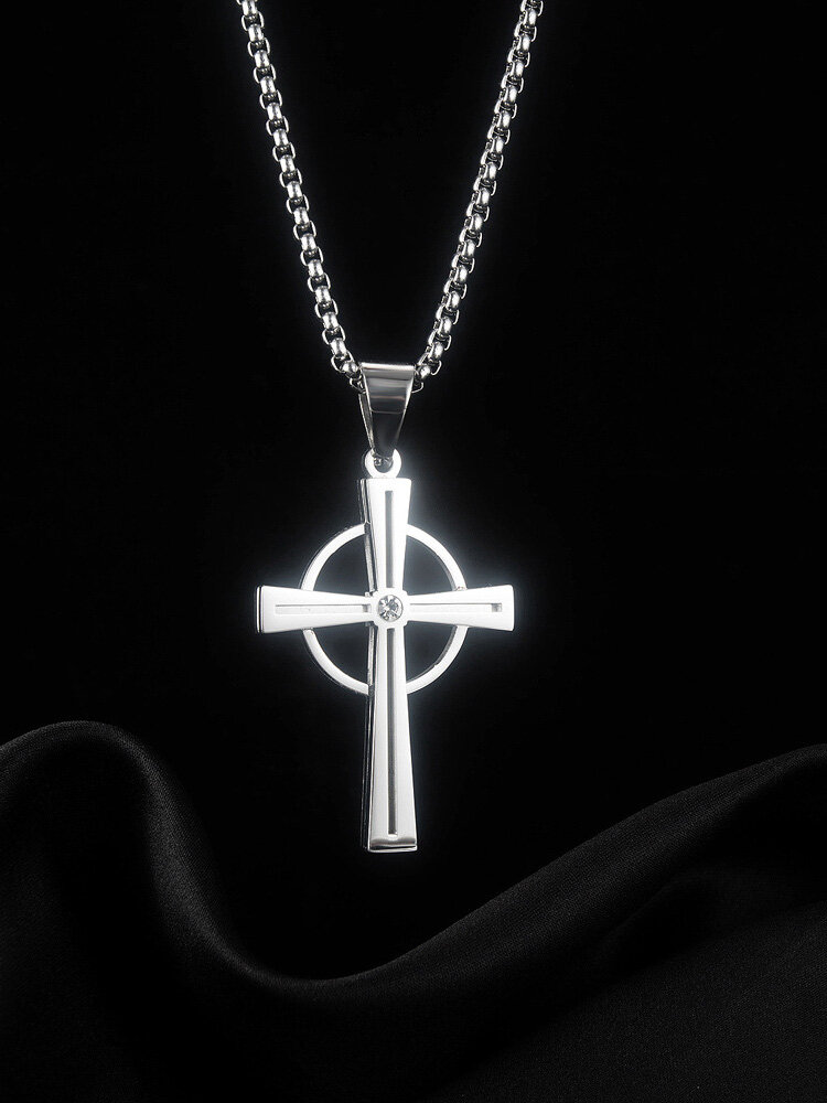 Vintage Cross Circle-shape Stainless Steel Necklace