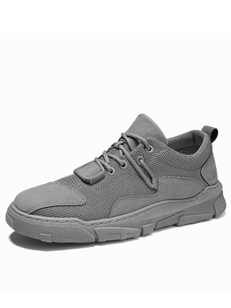 Men Delicate Stitching Mesh Fabric Lace-up Slip Resistant Sneakers