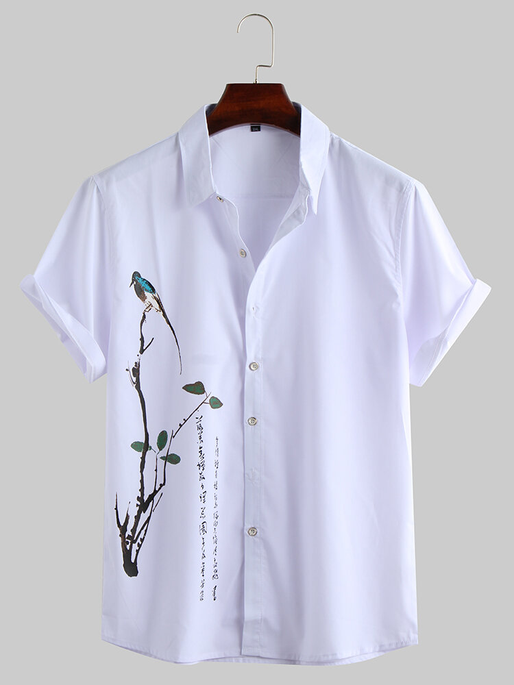 Mens Chinese Painting Print Turndown Collar Short Sleeve Casual Shirt