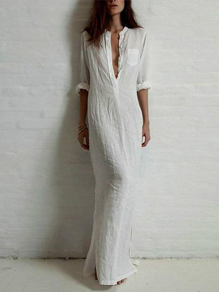 Brief Solid Stand Collar Long Sleeve Women Maxi Shirt Dress