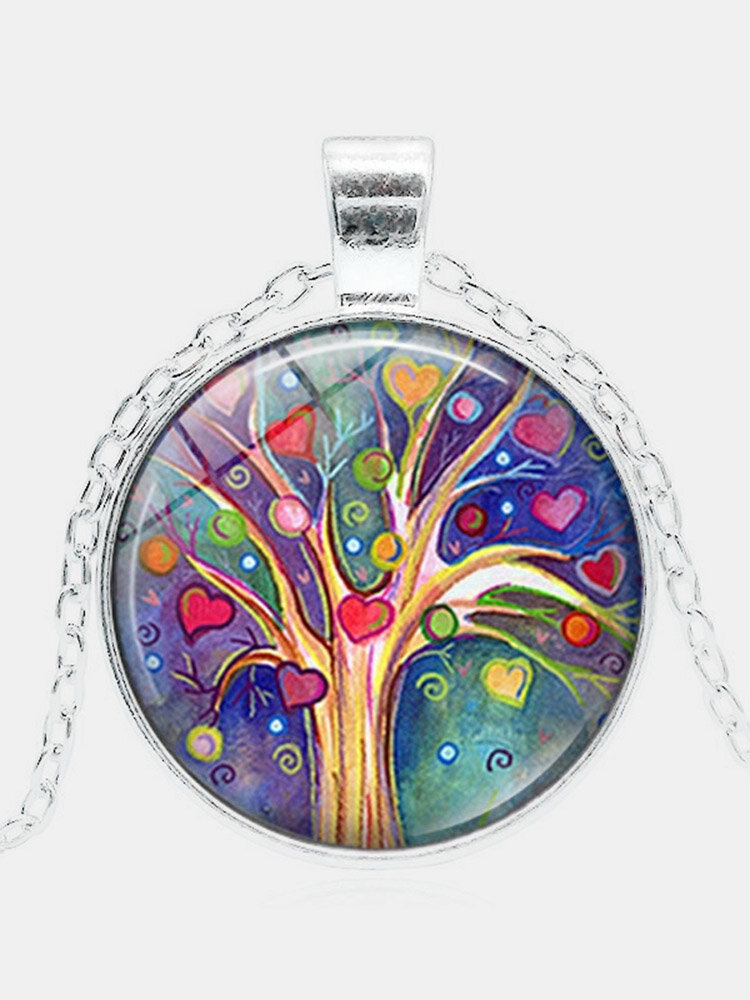 Vintage Geometric Round Tree Of Life Gemstone Pendant Necklace Metal Colorful Glass Printed Women Jewelry