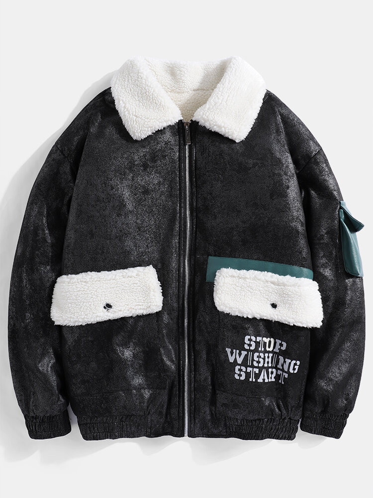Mens Letter Back Print Double Pockets Fleece Lined Thick Winter Cargo Jacket