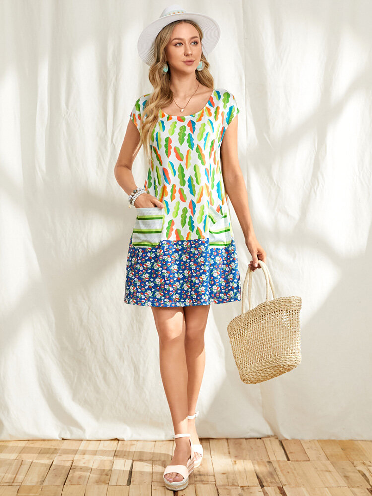 Agave Floral Print Patchwork O-neck Pocket Sleeveless Casual Dress