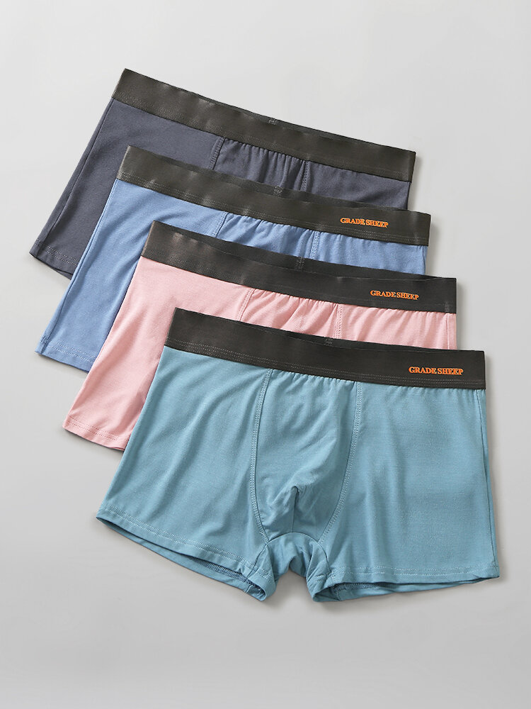 Solid Color Multipacks Smooth Seamless Pouch Boxer Briefs Gift Boxes For Men Underwear