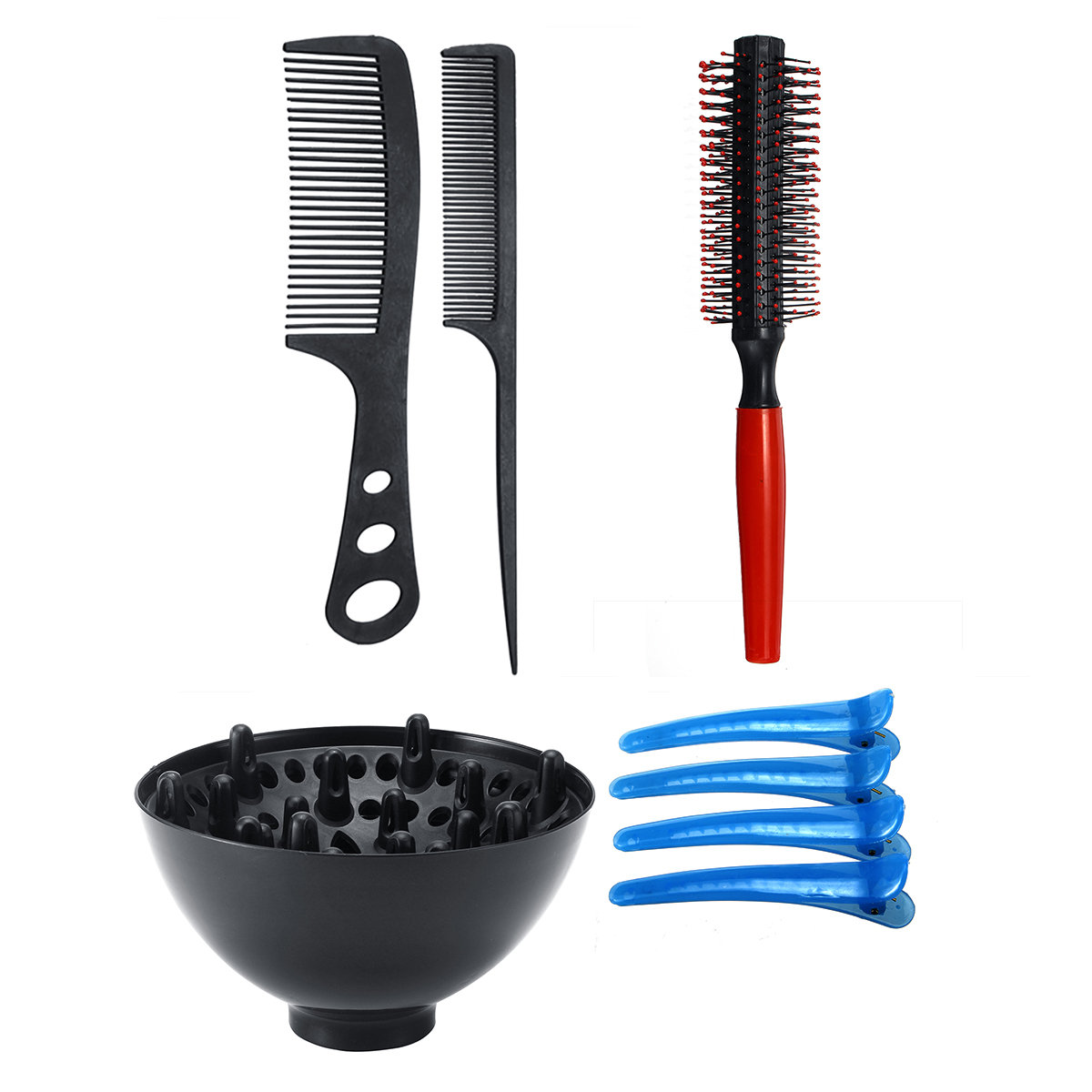 Professional Hairdressing Tool Barbers Salon Hair Styling Brush Combs 8 Pcs Set