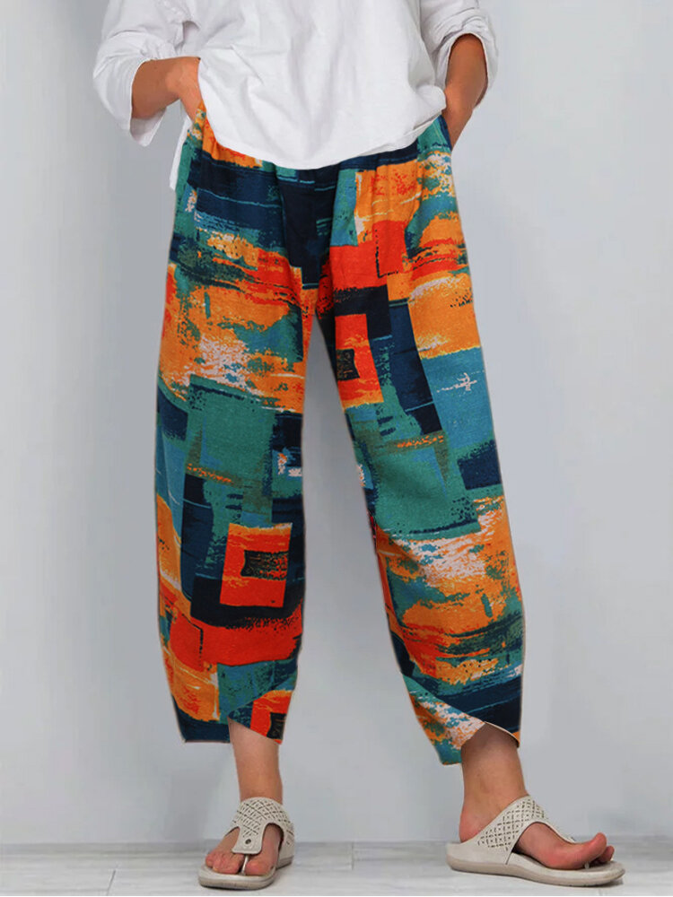 Printed Elastic Waist Casual Pants With Pocket