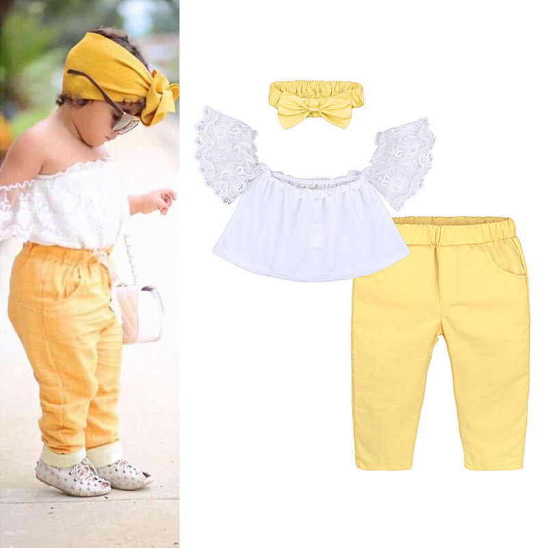 e0648e9c87f ... 3Pcs Girls Toddler Kids Clothes Set Off Shoulder Lace Tops + Pants +  Headband For 1Y. Share Get Coupon