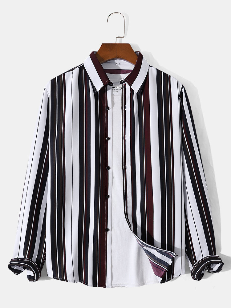 Mens Contrast Vertical Striped Lapel Button Front Casual Long Sleeve Shirts