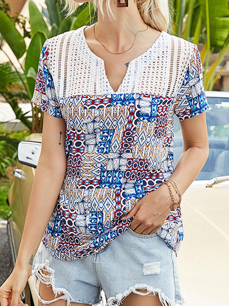 Geometry Print V-neck Hollow Short Sleeve T-shirt for Women