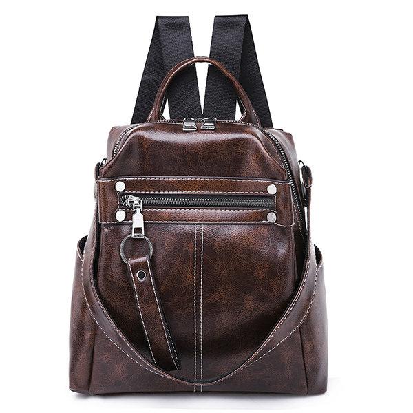 Travel PU Multi-function Backpack Solid Shoulder Bag For Women