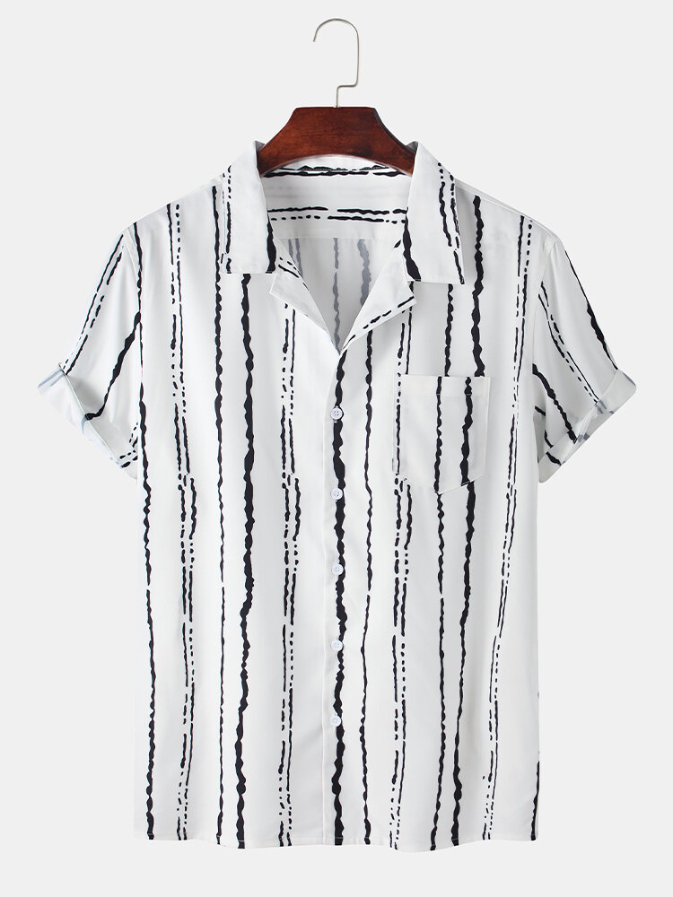Mens Abstract Striped Printed Chest Pocket Casual Shirt