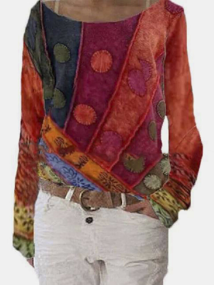 Ethnic Printed Long Sleeve O-neck T-shirt For Women