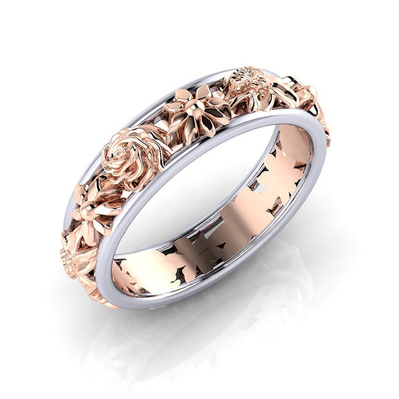 24b257027f5b Sweet Rose Gold Flower Double Color Womens Finger Anillos compromiso  joyería de la boda para las