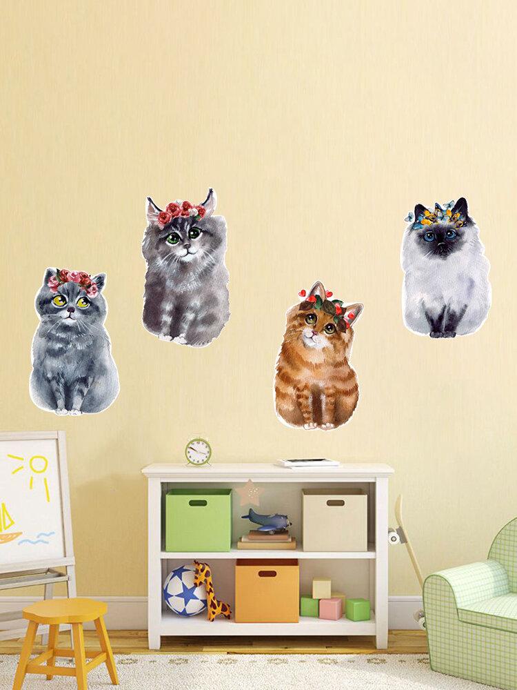 1 шт. Милые Colorful кошки стены стикеры художественная комната съемные наклейки украшения детская комната декор в спальню наклейки наклейки обои