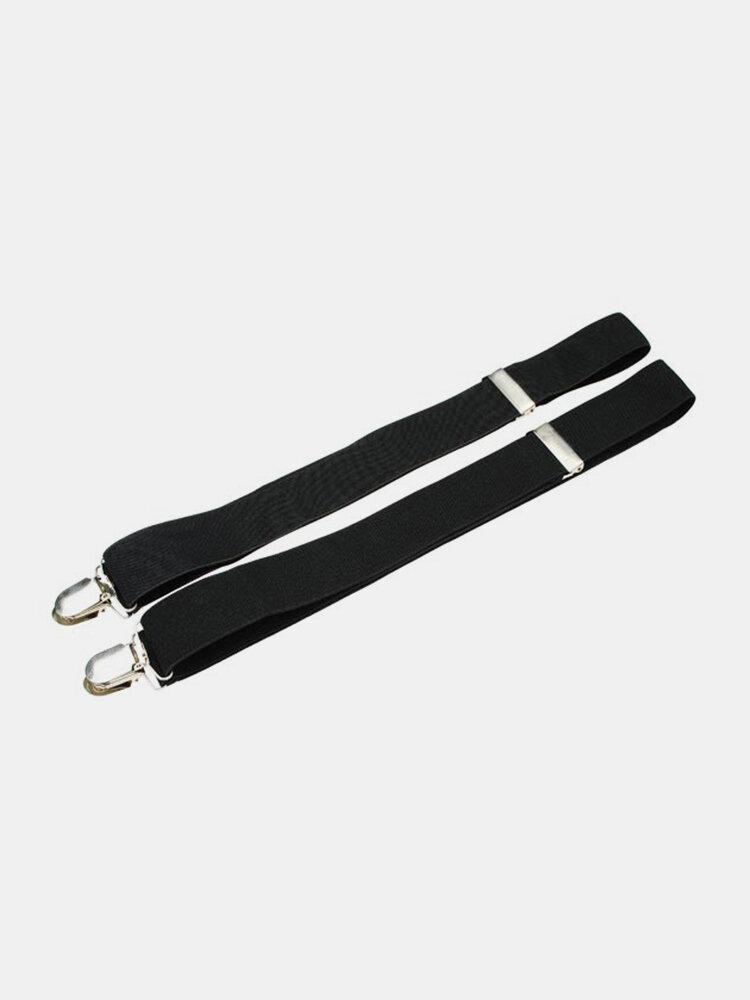 Men Women 4 Clips Black No Cross-strap Suspenders