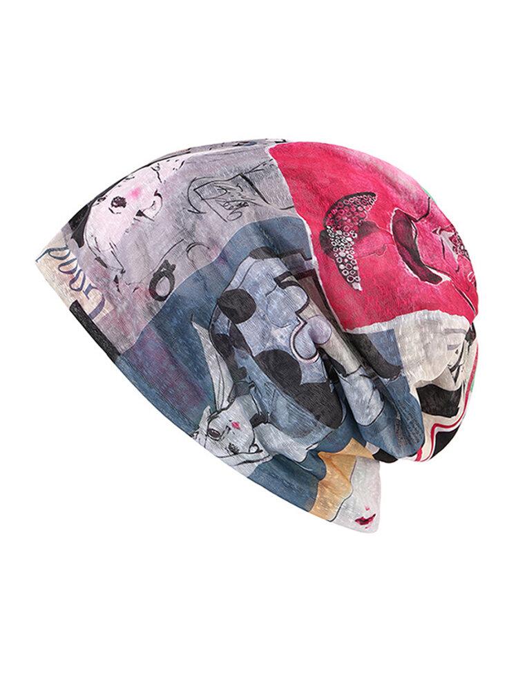 Women Lace Print Art Beanies Cap Outdoor Multi-function Windproof Scarf Collar Hair Hat