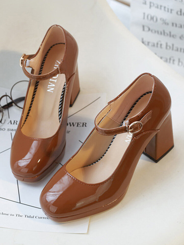 Women Daily Comfy Fashion Solid Color Buckle Strap Chunky Heel Mary Jane Heels