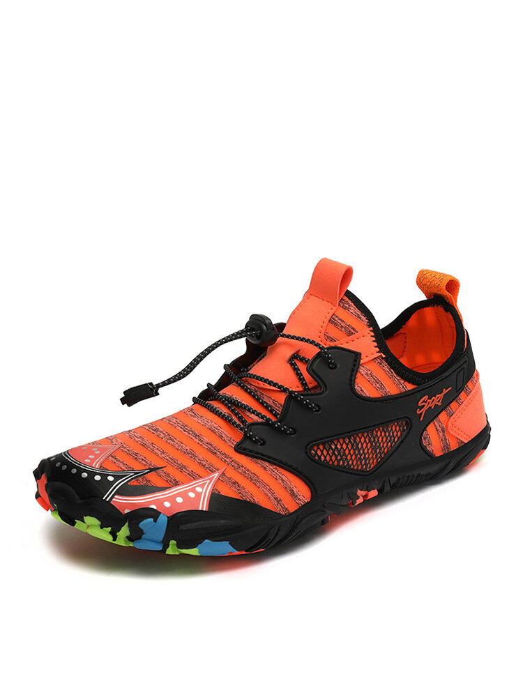 Men Stylish Color Blocking Lace-up Hard-wearing Outdoor Water Shoes
