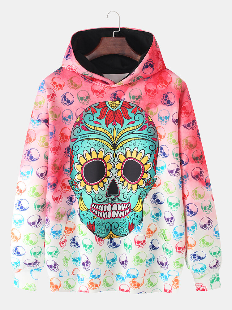 Mens Allover Skull Print Ombre Loose Pullover Long Sleeve Hoodies With Muff Pocket