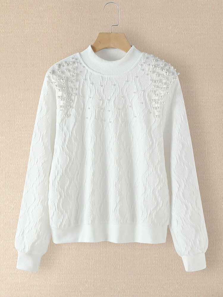 Plus Size Pearl Patchwork Solid Knit Sweater