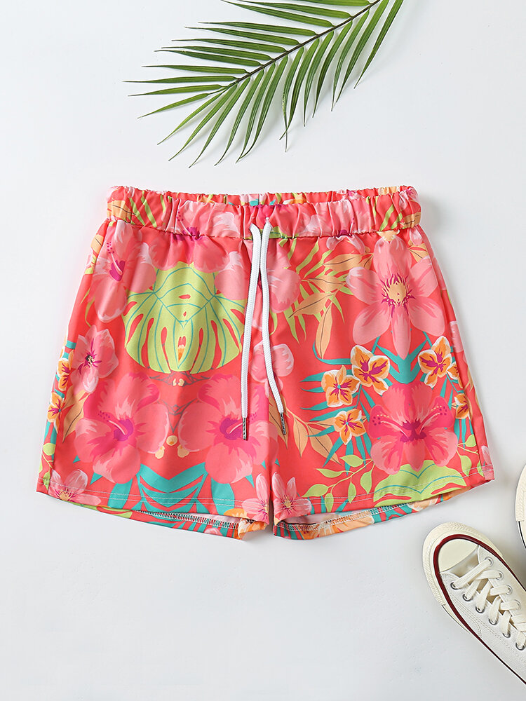 Plus Size Women Floral Print Home Shorts Drawstring Pajamas Bottoms