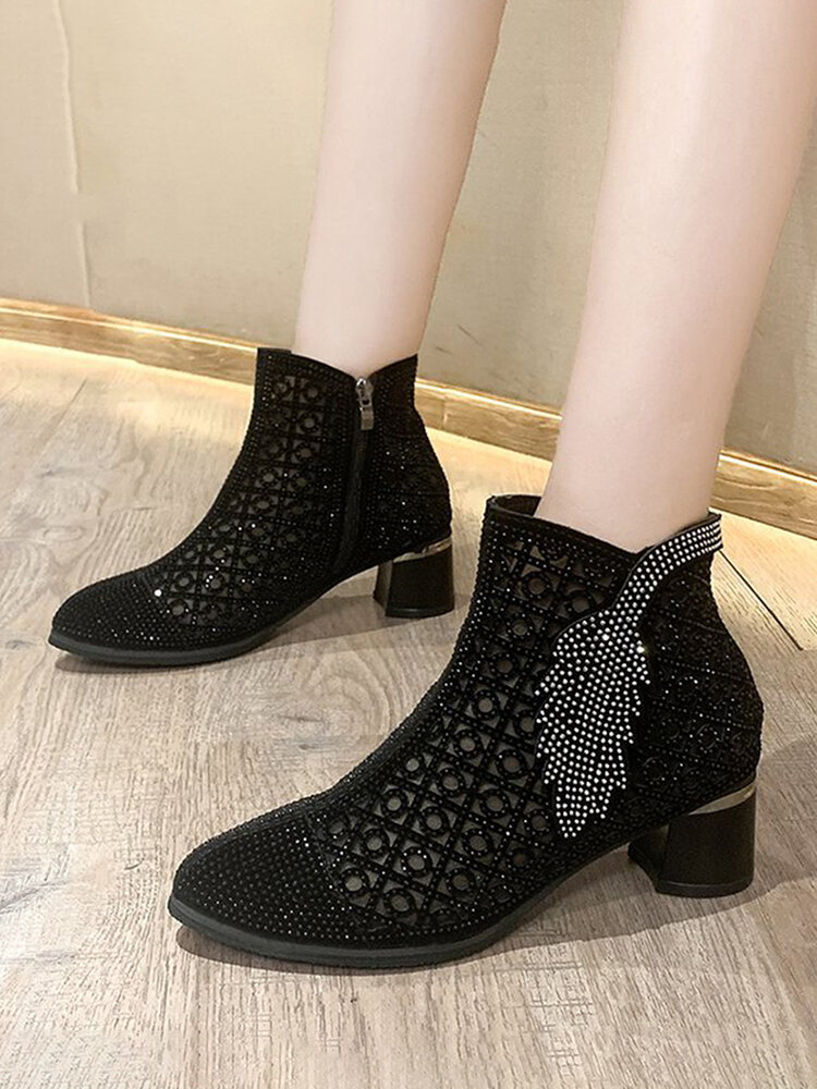 Large Size Women Breathable Mesh Rhinestone Side Zip Chunky Heels Ankle Boots