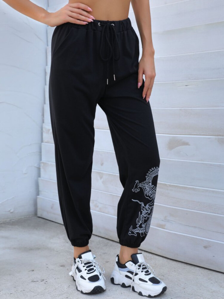 Stylish Dragon Print Elastic Waist Drawstring Pocket Pants