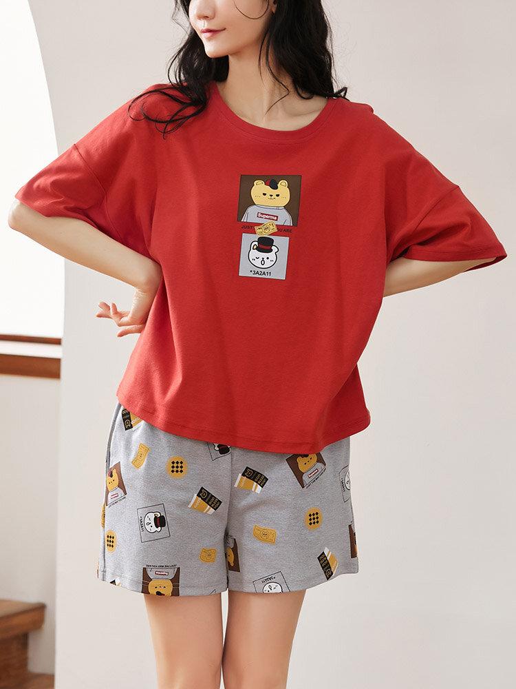Women Cute Animal Print Crew Neck Cotton Comfy Pajamas Sets With Pocket