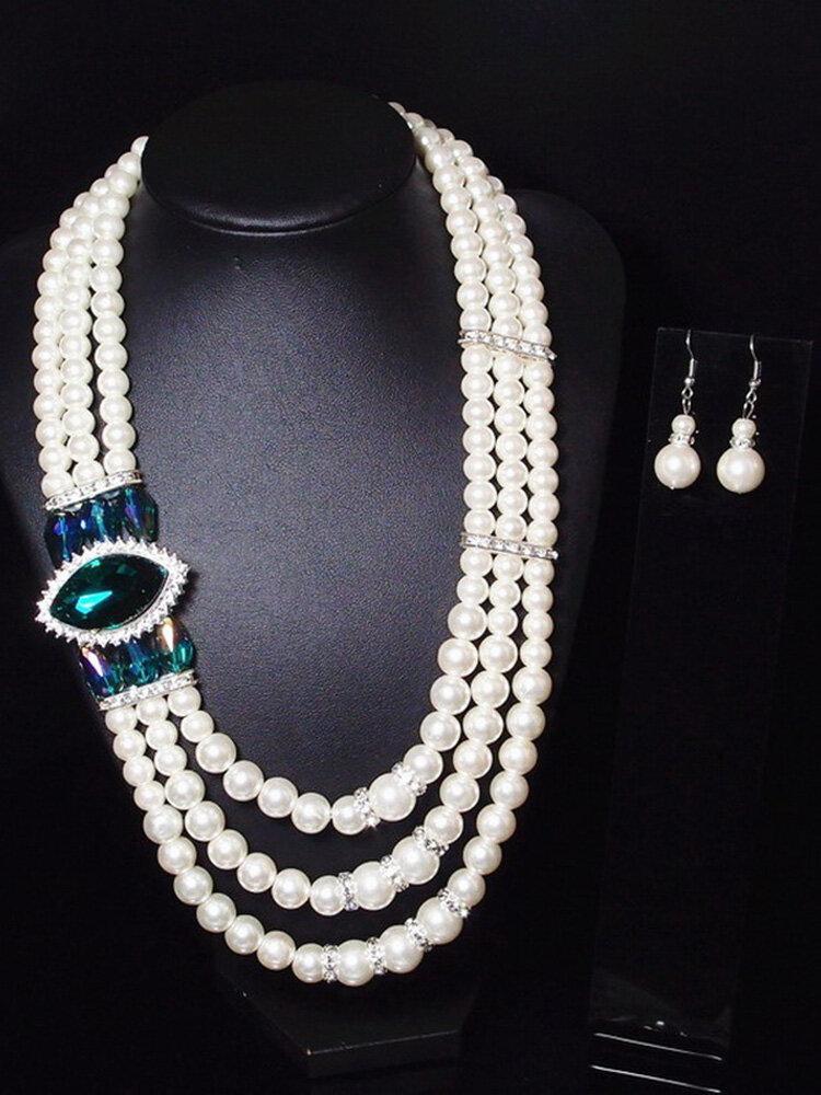 Luxury Womens Pearl Wedding Jewelry Set Statement Gemstone Pearl Necklaces Drop Earrings for Women