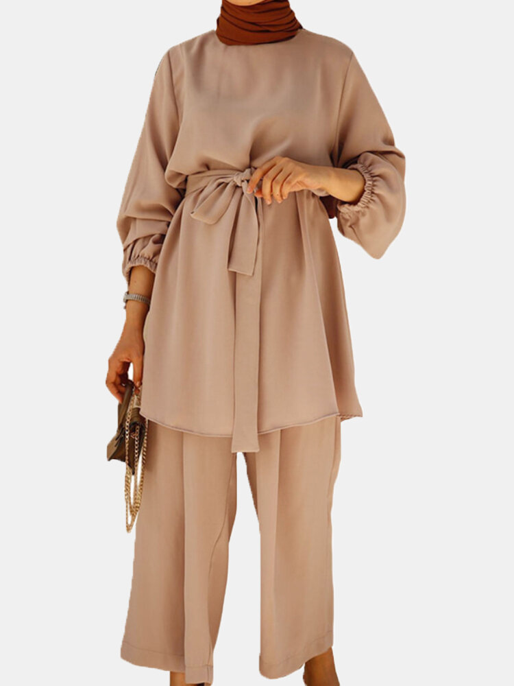 Solid Color Waistband Knotted Long Sleeve Casual Muslim Set for Women