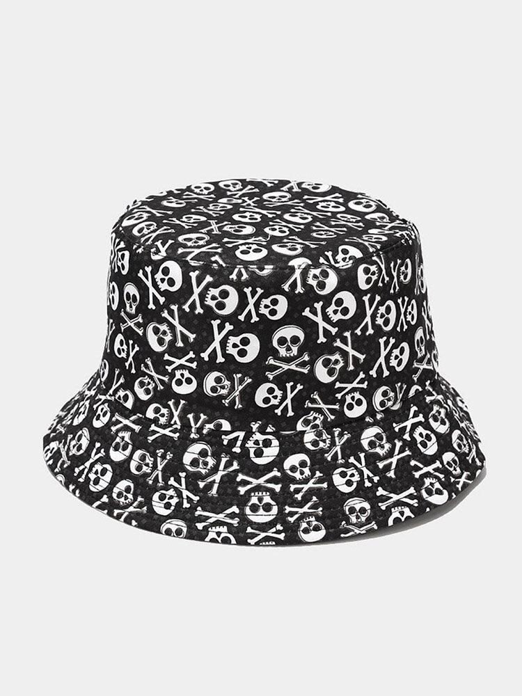 Unisex Cotton Overlay Cartoon Skull Flower Print Double-sided Wearable Fashion Sunscreen Bucket Hat