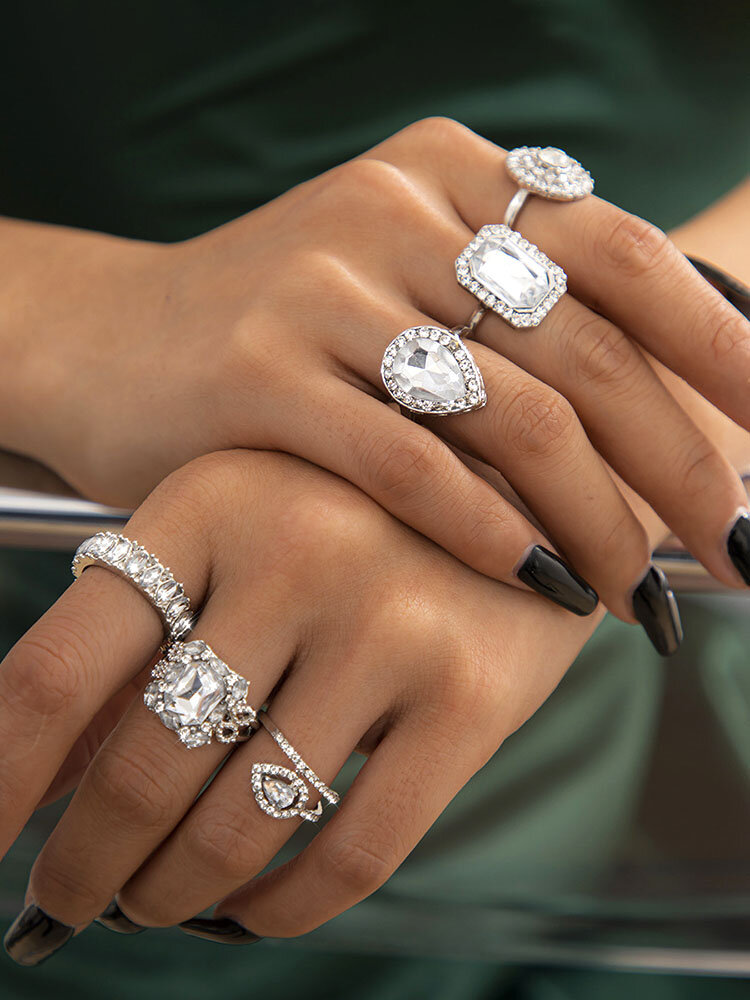 Trendy Square Rhinestone Ring Set Temperament Metal Diamond Ring Set