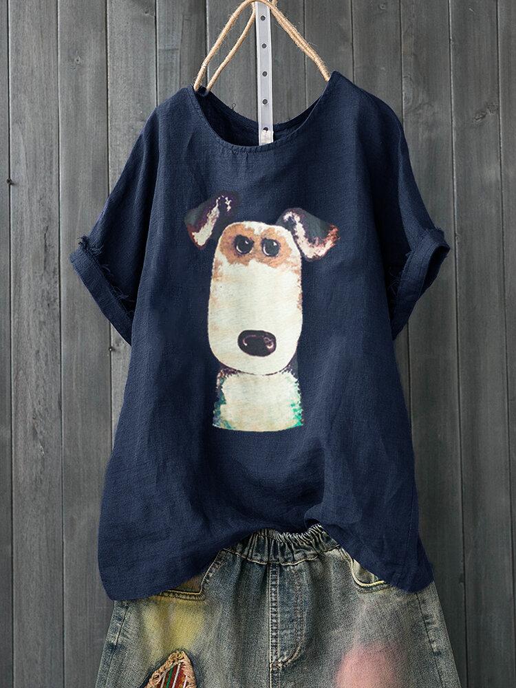 99fc672be Fashionable Cartoon Dog Print Short Sleeve Casual T-shirt For Women Online  - NewChic