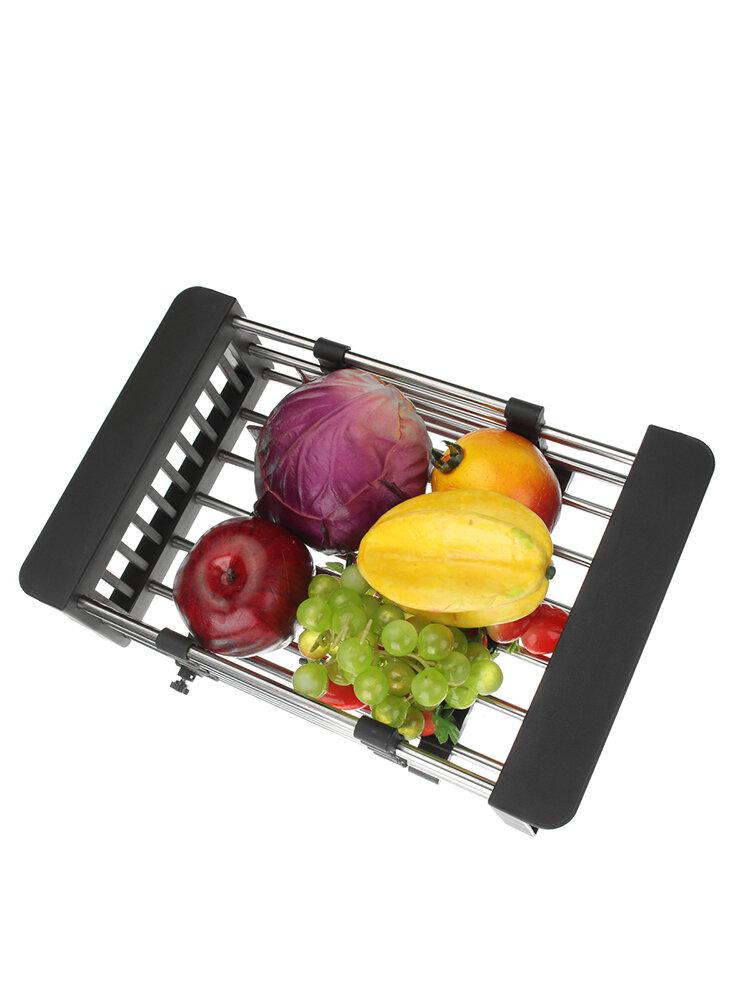 <US Instock> Adjustable Sink Organizer Drainer Stainless Steel Kitchen Basket Over Sink Drain Tray Dish Vegetable Fruit Drying Rack