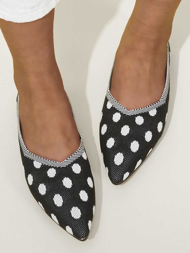 Plus Size Women Comfy Knitted Polka Dots Pointed Toe Slip On Flats