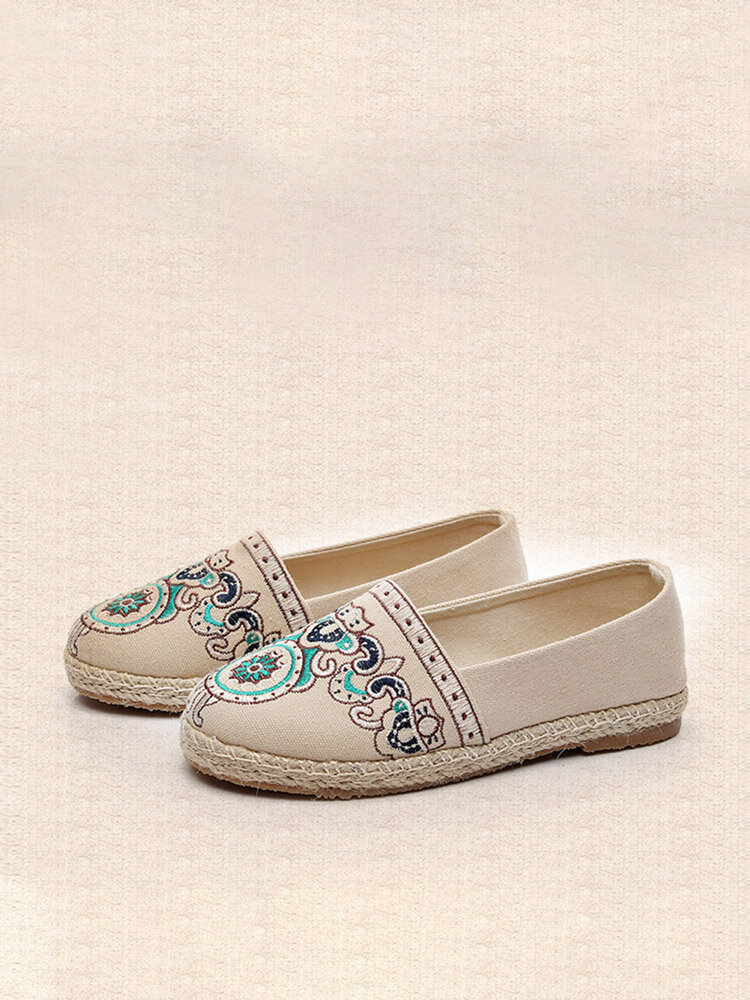 Women's Ethnic Embroidered Pattern Casual Canvas Woven Flats