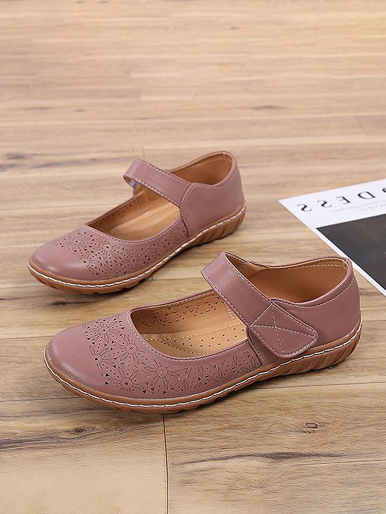 Women Comfy Round Toe Breathable Hollow Out Slip Resistant Soft Hook Loop Casual Flats